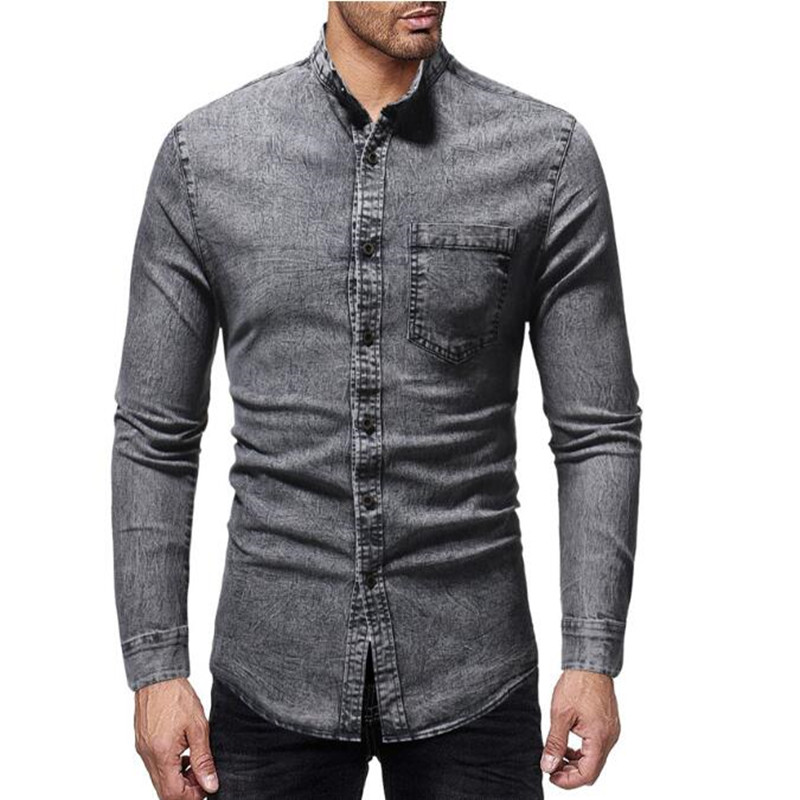 Quality men's casual slim stand collar casual shirt