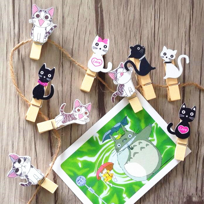 10pcs Kawaii Japanese Cat Wooden Clips With Hemp Rope Decoration Magnet Photo Memo Clip Wood Material Craft Stationery Supplies