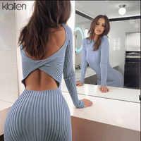 KLALIEN knitting manga larga bodycon backless Slim midi Vestidos mujer 2019 Otoño Invierno fiesta elegante club Vestido mujer 2 vías desgaste
