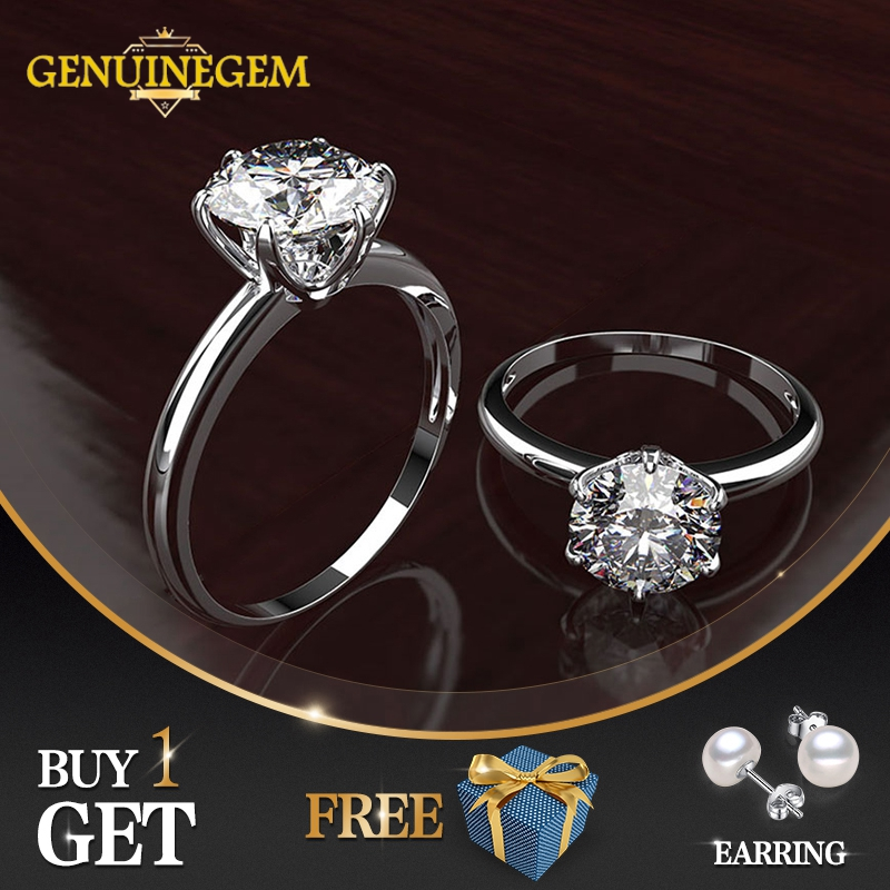 GENUINEGEM Classic Created Moissanite Wedding Engagement Rings For Women 100% Real 925 Sterling Silver Ring New Fashion Jewelry