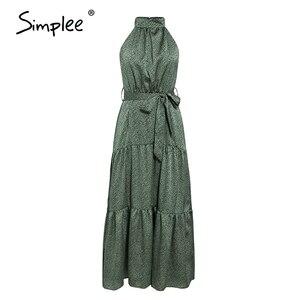 Image 5 - Simplee Sexy licou cou sans manches robe Vintage vert longue maxi vacances robe printemps été fête ceinture élégant 2020 vestidos