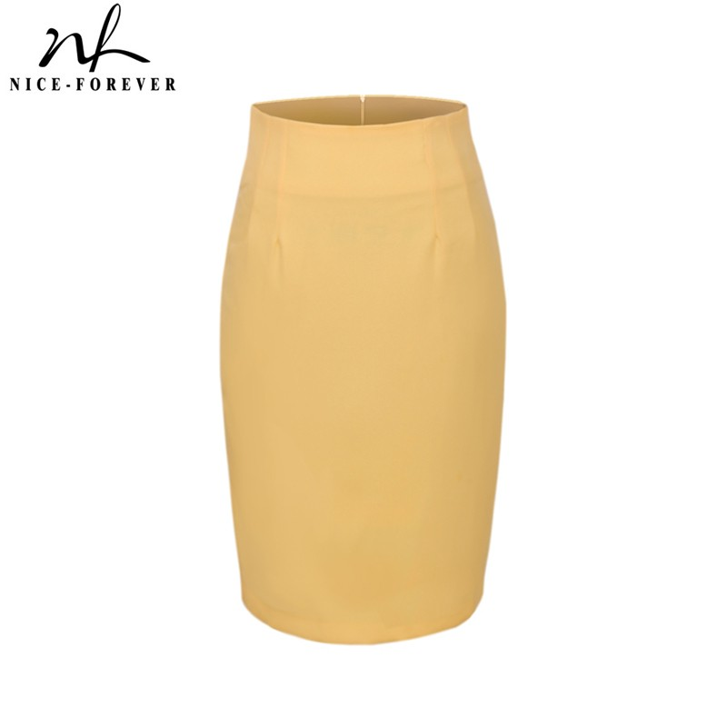 Nice-forever Elegant Solid Color Pencil Skirt Office Work Bodycon Vintage Stretchy Women Skirts 625