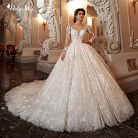 New Gorgeous Appliques Lace Chapel Train Ball Gown Wedding Dress 2020 Scoop Neck Beaded Flowers Long Sleeve Princess Bridal Gown