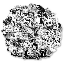 100pcs / set Vintage Stickers Black and White DIY for Motorcycle Skull Stationery Scrapbook Sticker Luggage