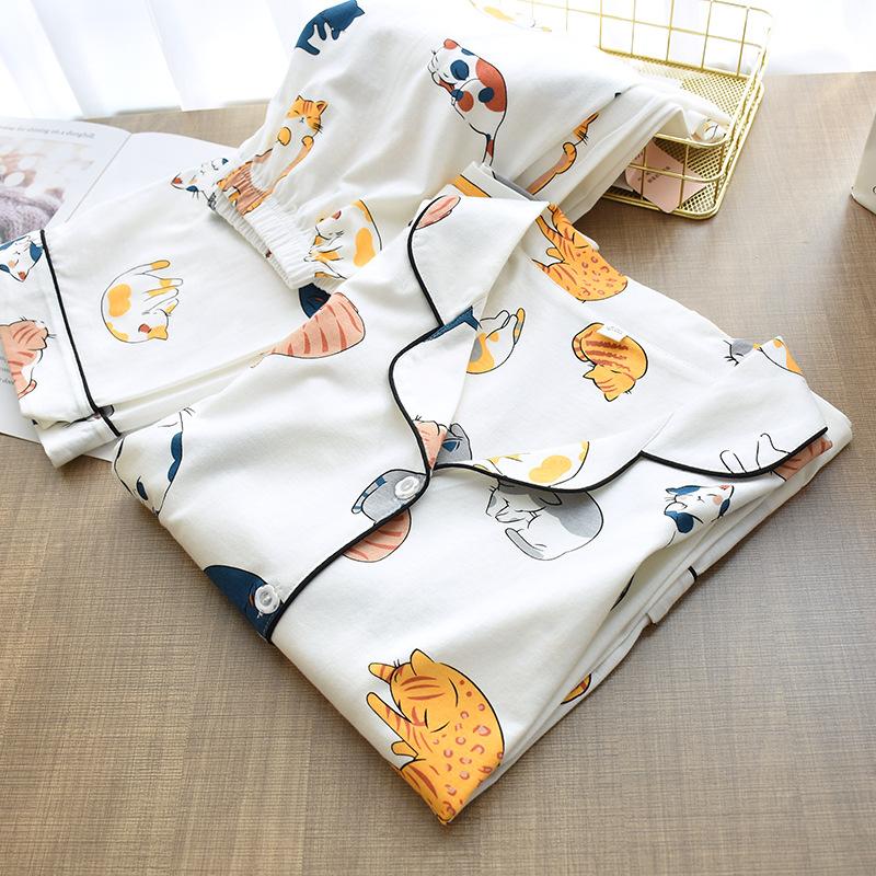 100% Cotton Pajamas For Women 2021 Cute Cat Print Cartoon Home Clothes 2Pcs Set Sleepwear Female Tops+Pants Nighties Pijama Suit