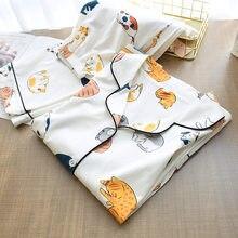 % 100% pamuklu pijama kadınlar için 2020 sevimli kedi baskı karikatür ev giysileri 2 adet Set pijama kadın üstleri + pantolon nighties Pijama takım elbise