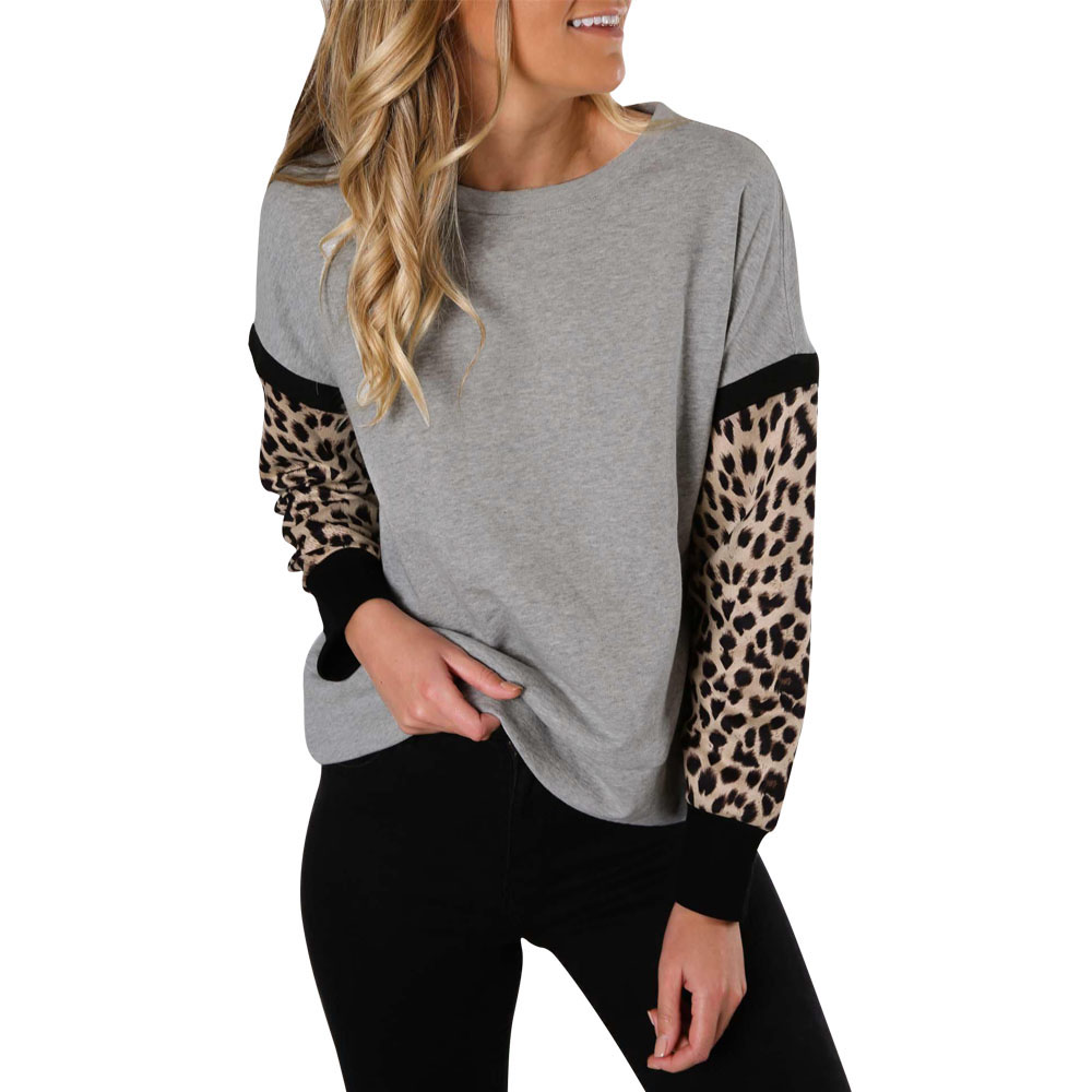 Women Casual Long Sleeve Sweatshirt Leopard Stitching Moletom Round neck pullover Polyester Sweatshirts sudadera mujer D30