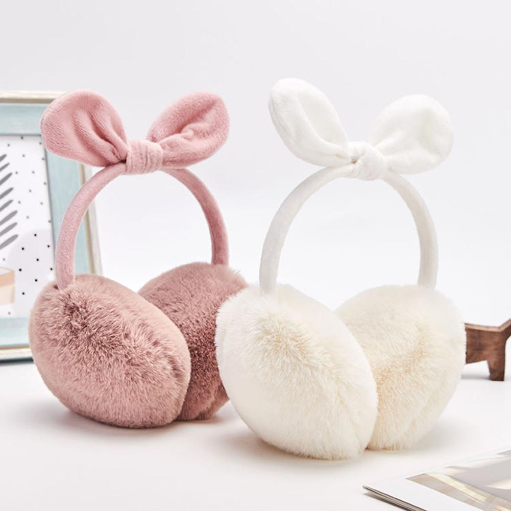 Cute Women Winter Solid Color Bowknot Plush Ear Warmers Covers Earmuffs Earflaps