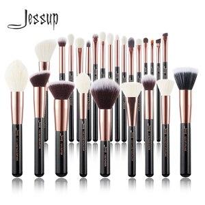 Image 1 - Jessup pincéis de maquiagem conjunto rosa ouro/preto fundação pó sombra compõem escova 6 pces 25 pces