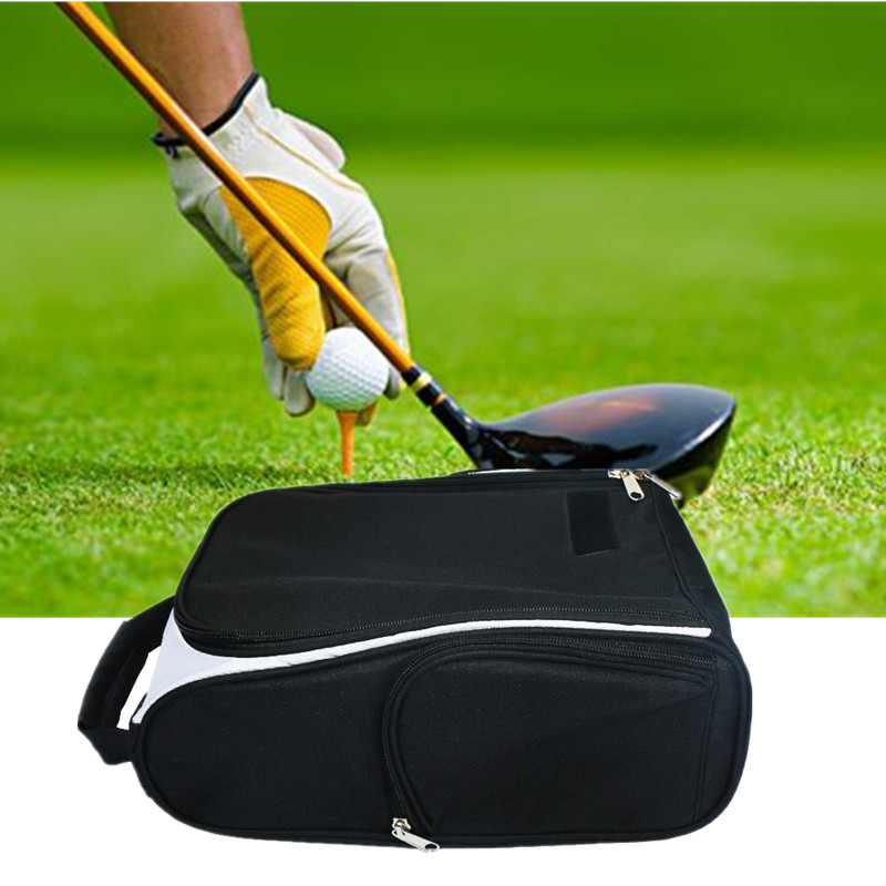 Portable Waterproof Golf Shoes Bags Zipped Carrier Tote Case With Pocket For Socks Tees Golf Accessories