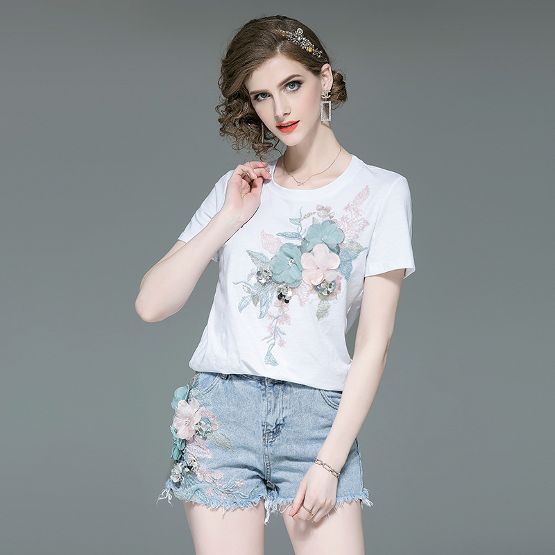NAQIT 2020 Spring And Summer New Fashion Small Fresh Three-dimensional Flower T-shirt + Shorts Women's Suit 2 Piece Set Women