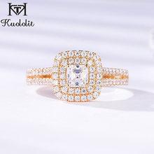 Kuololit 9K sarı beyaz altın 100% doğal moissanite Lab elmas yüzükler kadınlar için düğün nişan gelin hediyeler güzel takı