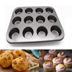 12 copo de aço carbono muffin queque cozimento pan não vara máquina de lavar louça microondas bolo molde redondo biscoito pan bolo molde melhor #1