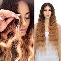 Благородные волосы парики для черных женщин синтетический парик фронта шнурка 30 дюймов длинные волнистые волосы блонд Омбре волос синтети...