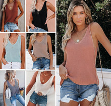 2021 summer women's new solid color fashion casual V-neck camisole home ice silk knitted sexy ladies top