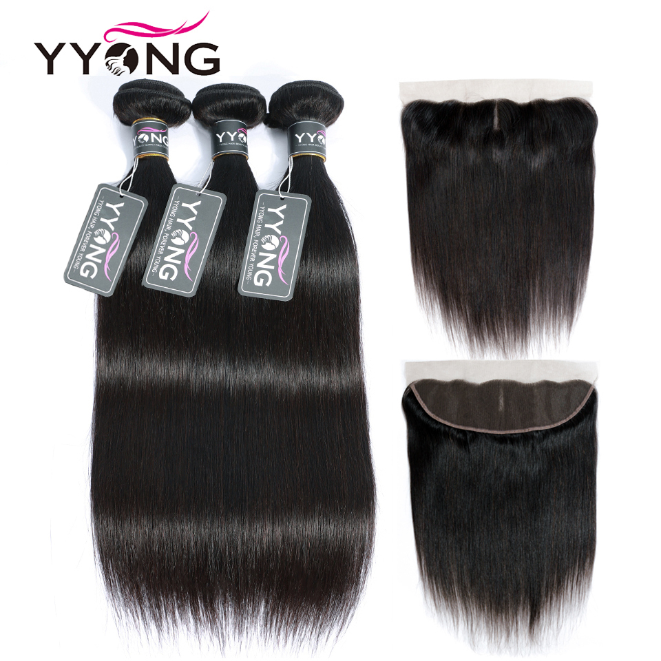 YYong 13x4 Lace Frontal With Bundles  Straight Bundles With Frontal  Ear To Ear Lace Frontal With Bundles 1