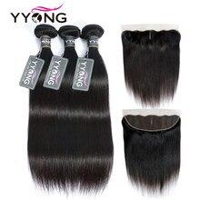 YYong 13x4 Frontal de encaje con mechones recto peruano con Frontal mechones de cabello humano Remy de oreja a oreja Frontal de encaje con mechones