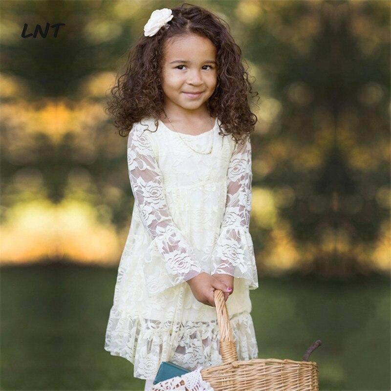 Bell Sleeves Knee Length Boho Lace Flower Girl Dresses First Communion Christening Dress