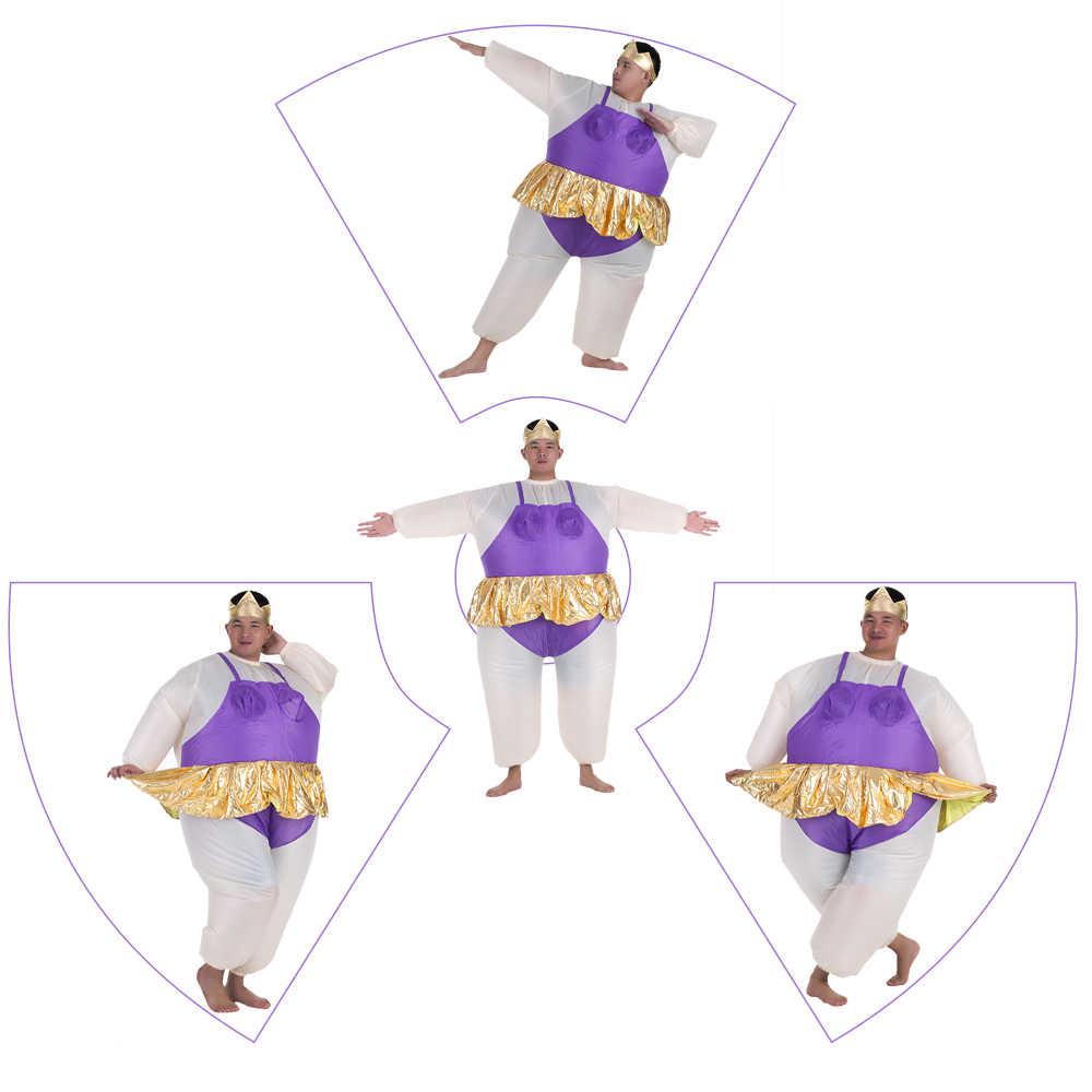 ร้อนน่ารักผู้ใหญ่ Inflatable Ballerina เครื่องแต่งกายชุดสูทไขมันสำหรับผู้หญิง/ชาย Air พัดลม Blow UP ฮาโลวีนปาร์ตี้แฟนซี jumpsuit เครื่องแต่งกาย