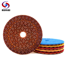 RIJILEI 6PCS 4inch Super Diamond polishing pads 100mm Copper bond wet pad for granite marble concrete Grinding Disc