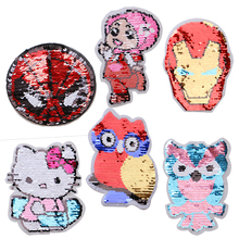 Fashion Sequin owl cute girl holle kitty icon embroidery Applique Patches For kawaii clothes DIY Iron on Badges a backpack