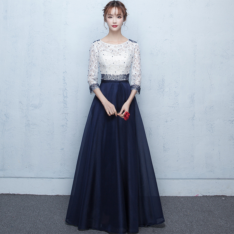 Banquet Evening Gown Long 2019 New Style Dignified Glorious Short Gas Banquet Dress Women's Autumn And Winter Long Sleeve