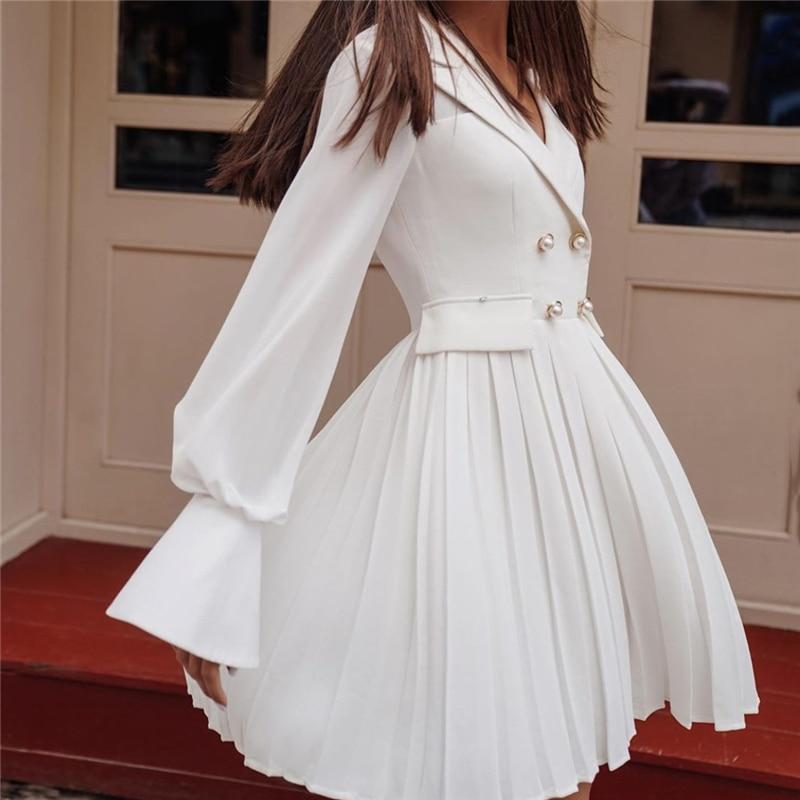 Blazer Dress Women Long Sleeve Elegant Robe Blazer Dress Vintage Office Mini Swing Dress Ladies White Fit and Flare Dresses 2020
