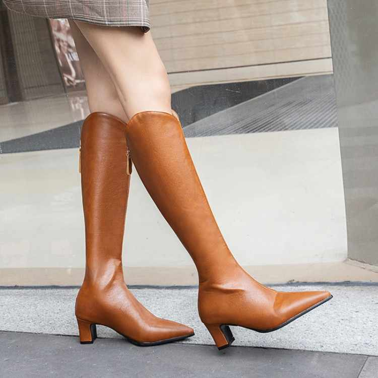 Büyük Boy 9 10 11-17 çizmeler kadın kadın kış çizmeler kadın kadın ayakkabı botas Arka fermuar kafa düşük topuk deri
