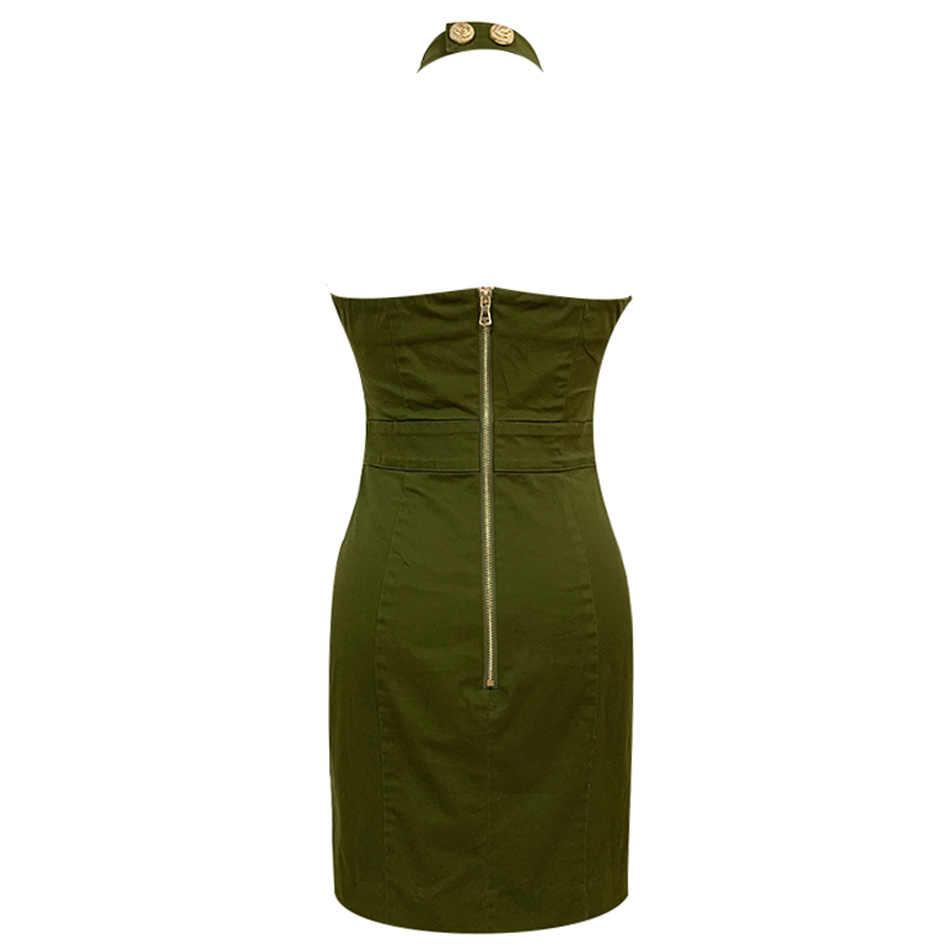 Ailigou 여름 2020 최신 패션 디자이너 런웨이 드레스 숙녀 골드 버튼 체인 군대 그린 백리스 미니 섹시한 파티 드레스
