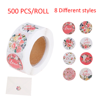 500Pcs Pink Flower Stickers Rolls for Love Oh Baby Stickers Labels Seal Stickers image