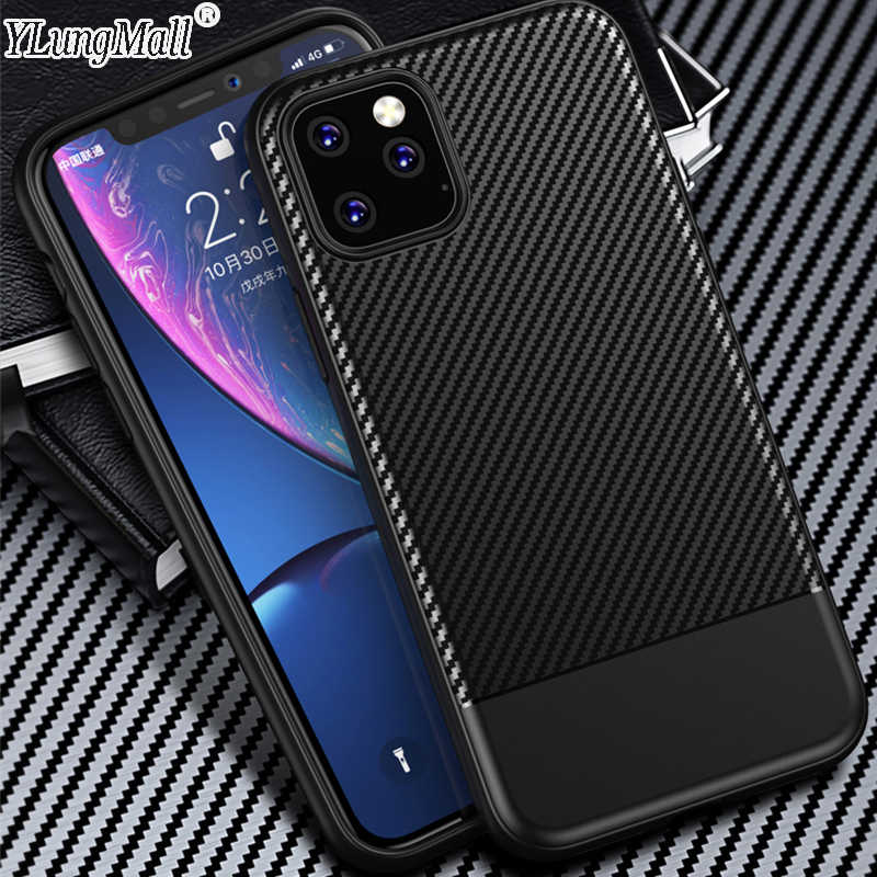 Business Case on For iPhone 11 XI 11 Max 11R Case 2019 Cover Carbon Fiber Shockproof Soft TPU Silicone Phone Case Funda Coque