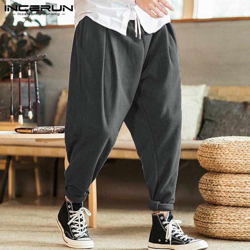 INCERUN Men Harem Pants Joggers Solid Color Fashion Warm Drawstring Loose Fleece Casual Pants Streetwear 2019 Trousers Men S-5XL