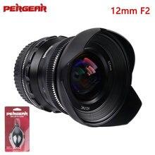 PERGEAR 12mm F2 obiektyw aparatu Super szeroki kąt ręczne ustawianie ostrości stały obiektyw do Sony E/Fujifilm X/M4/3 /Nikon Z mocowaniem