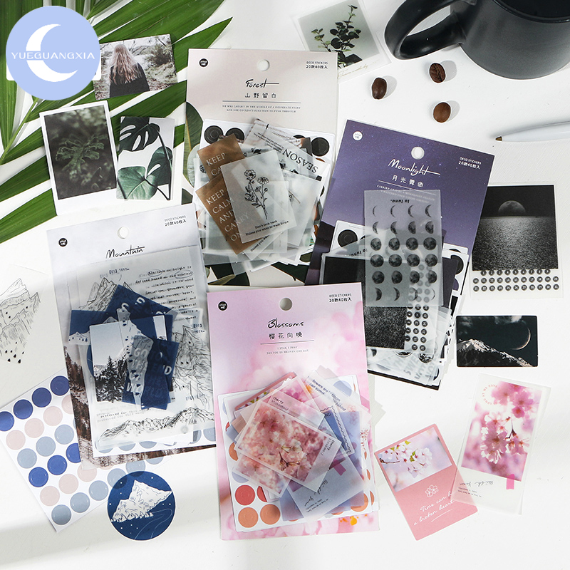 YueGuangXia 4 Design 40pcs Wonderful Life Material Scrapbooking/Card Making/Journaling Project DIY Kraft Ins Writing Paper Cards