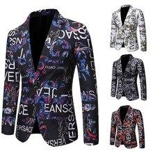 2021 Новинка европейский и американский Letter Print Slim Fit Suit Single Suit Dress Performance Dress Party Dress Suit Jacket