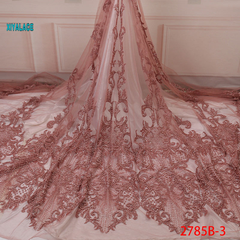 African French Lace Fabric Handmade Lace Nigerian Beaded Lace Fabrics 2019 Hot High Quality Lace Tulle For Party Dress YA2785B-3