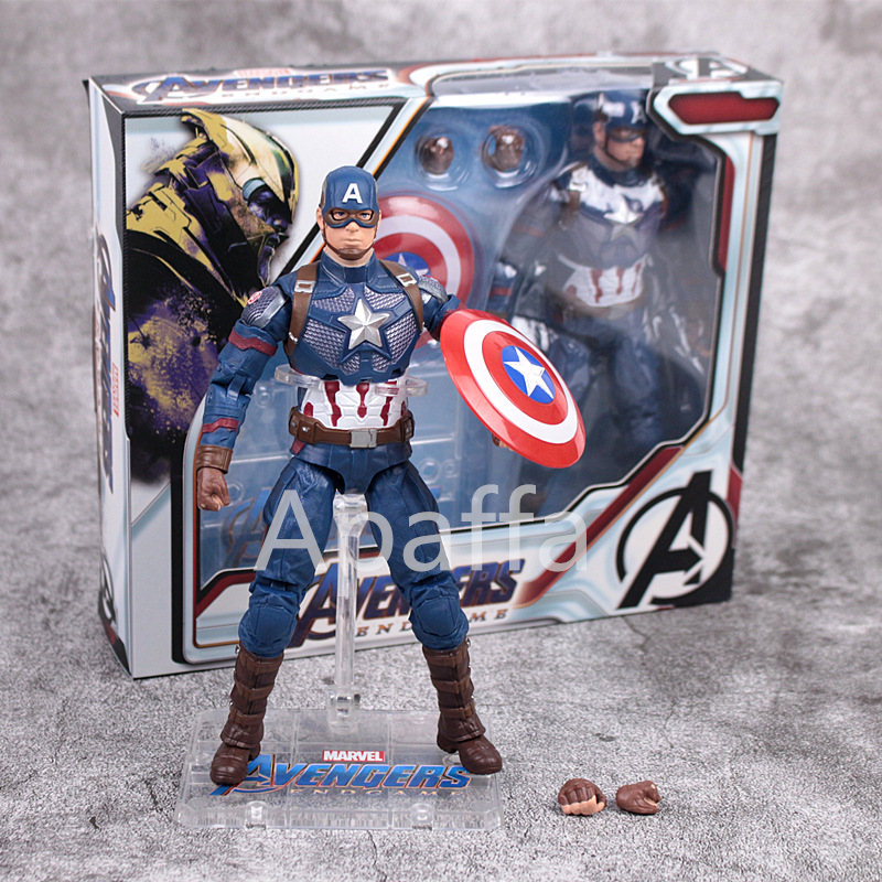Marvel Avengers Captain America Iron Man Thor War Machine Captain Marvel Upgrade Anime PVC Collectible Action Figure