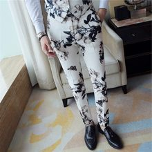 2020 Fashion Print Dress Formal Pants For Mens Trousers Office Pantalon Homme Classique Slim Fit Calca Social(China)