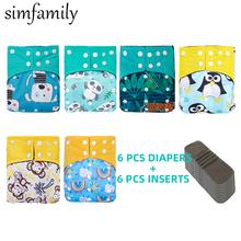 [Simfamily] conjunto de fraldas reutilizáveis à prova dreágua fralda de carvão de bambu do bebê um tamanho bolso fraldas do bebê com inserção por atacado