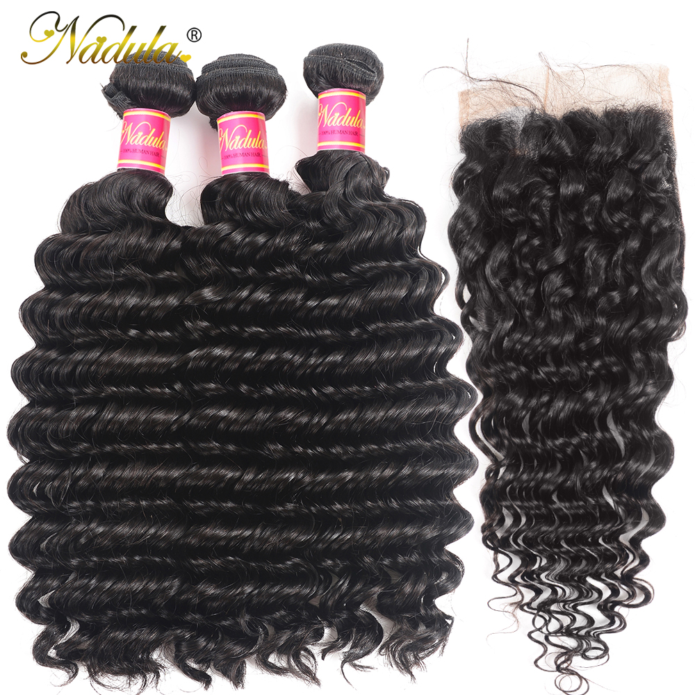 Nadula Deep Wave Bundles with Closure 4x4 Lace Closure Pre plucked With Baby Hair 12-26inch  Bundles with Closur 2