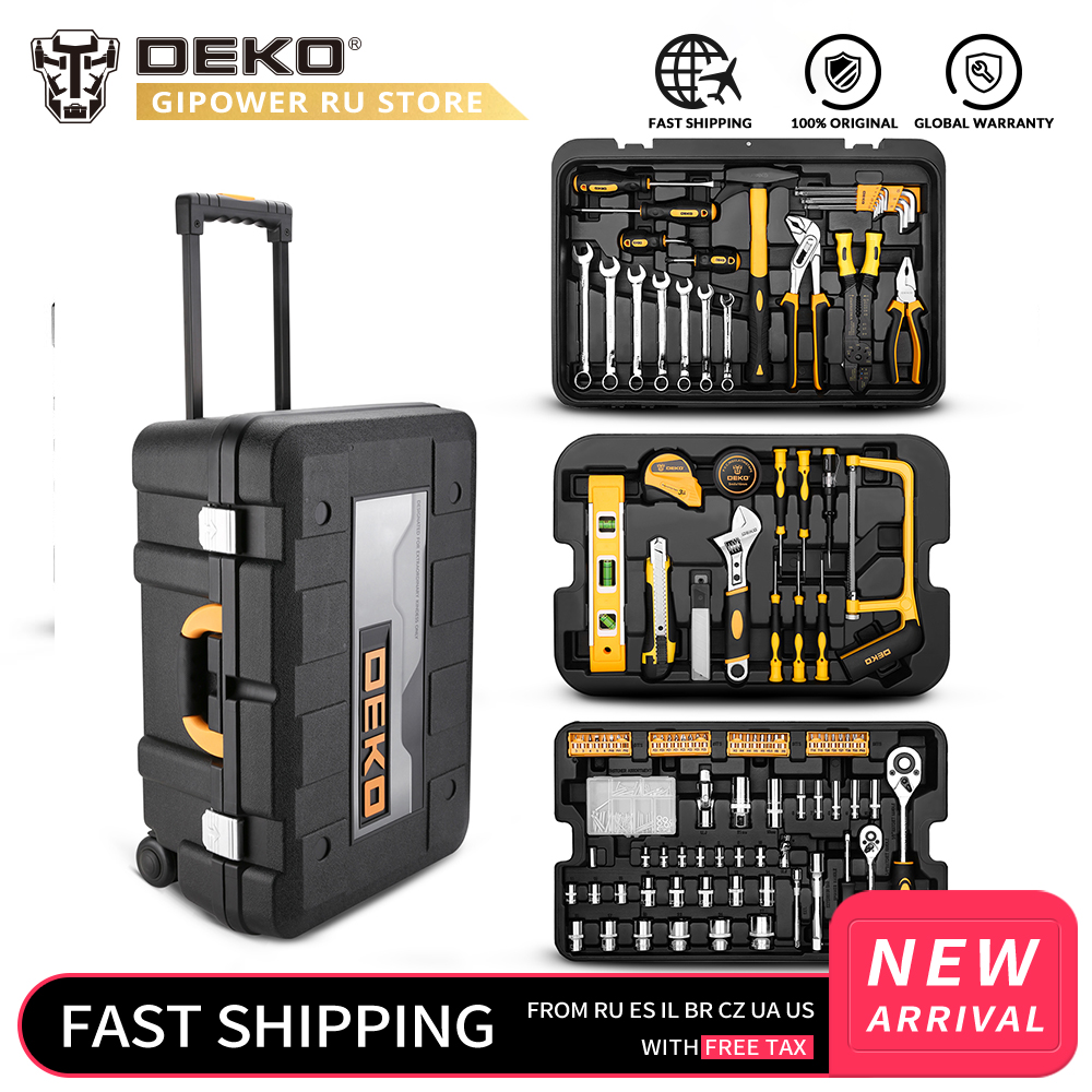 DEKOPRO 258 Pcs Tool Set With Rolling Tool Box Metric Socket Wrench Hand Tool Kit Storage Case Socket Wrench Screwdriver Knife