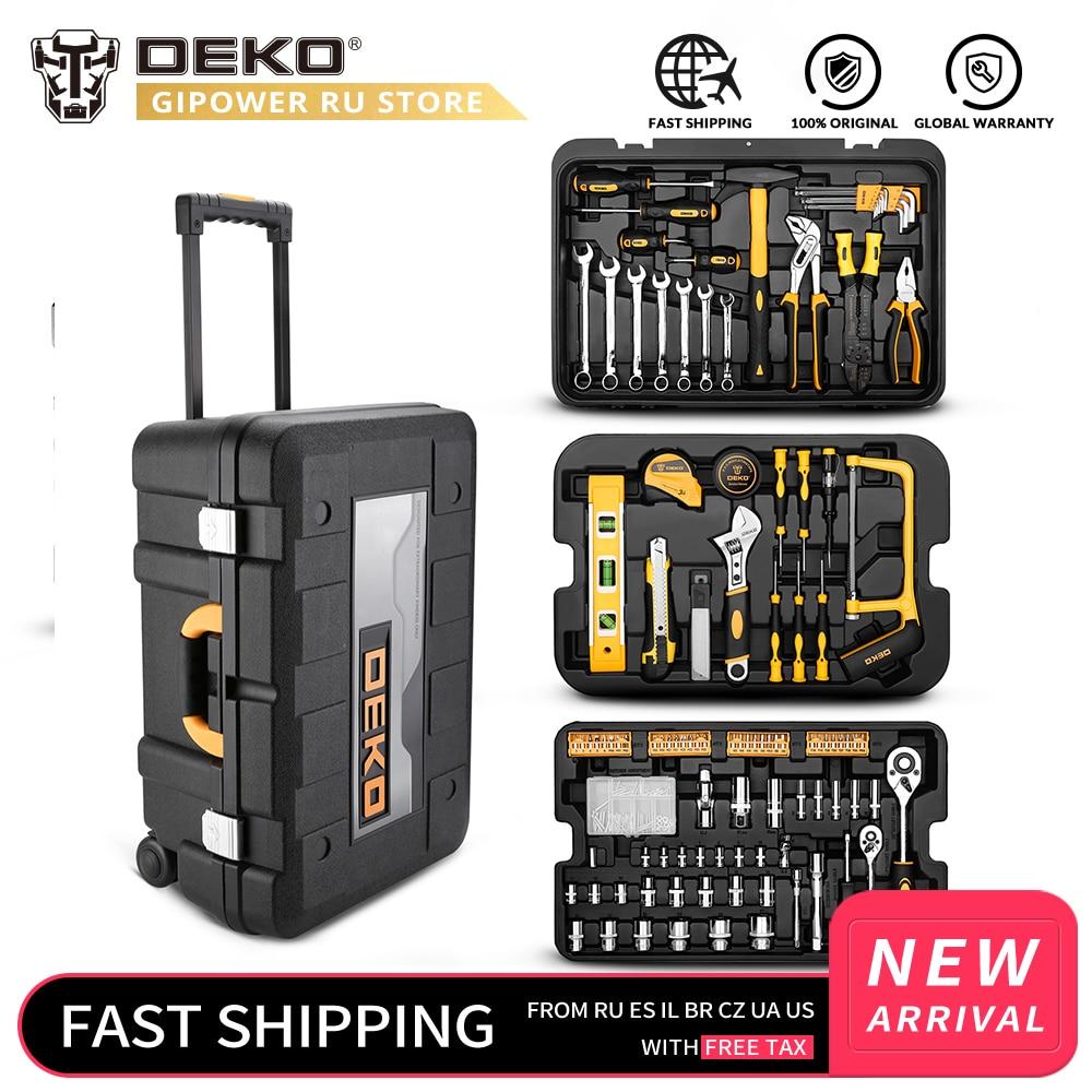 DEKOPRO 258 Pcs Tool Set with Rolling Tool Box Metric Socket Wrench Hand Tool Kit Storage Case Socket Wrench Screwdriver Knife|Hand Tool Sets| |  - title=