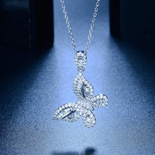 Exquisite Silver Plated White Zircon Crystal Butterfly Necklace Pendant Amazing Cubic Zirconia Necklace Bride Wedding Jewelry(China)