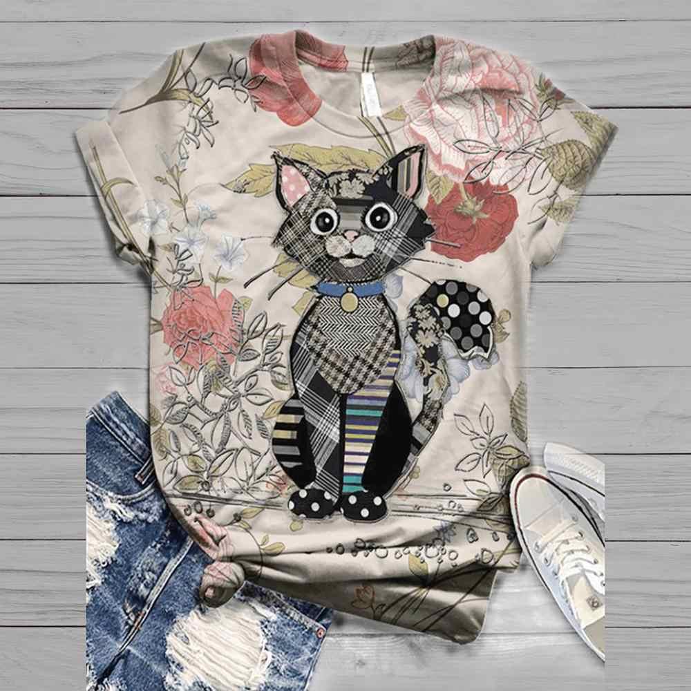 T Shirt Vrouwen Harajuku Tops Vrouwen 2020 Plus Size Vrouwen Korte Mouw 3D Animal Gedrukt O-hals Top T-shirt Vrouwen voetbal Shirt