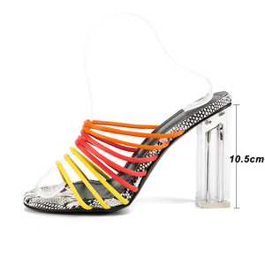 Image 3 - Kcenid 2019 New sexy multi snake print sandals women open toed mixed color transparent block heel sandals crystal slippers pumps