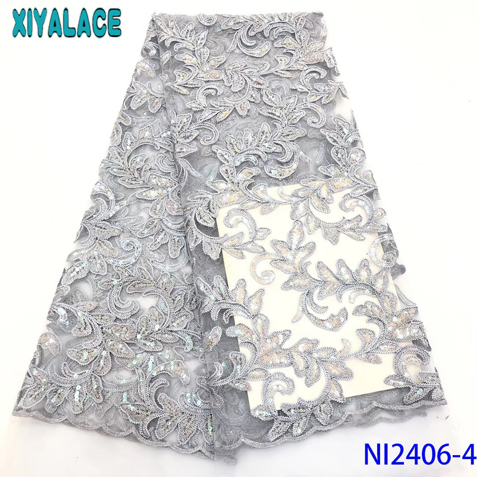 2019 African Fabric Lace New Net Lace Fabric French Sequence Lace Fabric Nigerian Embroidered Laces For Women KSNI2406