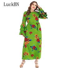 XL-6XL Plus Size Women Christmas Autumn Dress Casual Vintage Floral Print Maxi Long Dress Elegant Flare Long Sleeve Dresses long sleeve elk print christmas mini swing dress