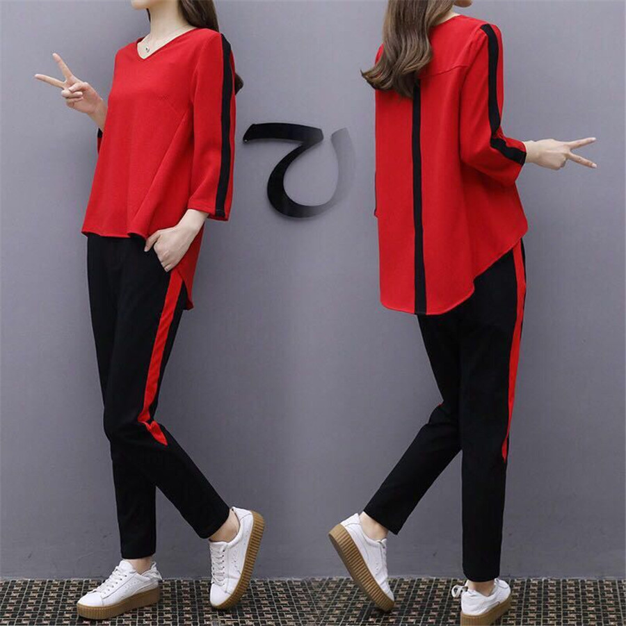Plus Size Large Outfit Tracksuit Sportswear Co-ord Set For Women 2 Piece Set 2019 Winter Top And Pants Suit Striped Red Clothing
