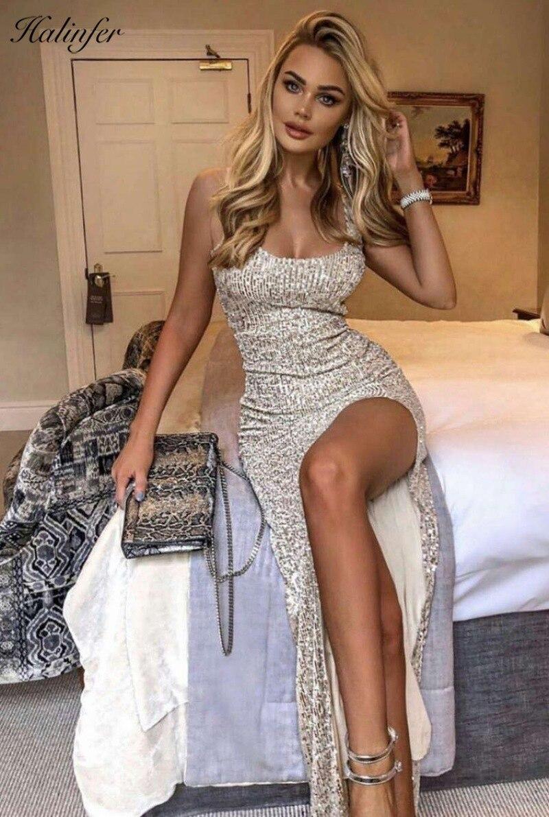 Halinfer 2019 new summer  women dress sexy bodycon tank paillette bandage dress elegant celebrity party silver dresses vestidos