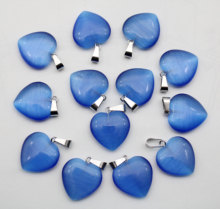 12pcs/Lot Natural agates crystal Cat eyes Stone 20mm Heart Shape Pendant for Diy Jewelry Making earrings Bracelet Accessories
